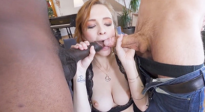 Interracial threesome with anal cumshot