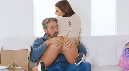 Young girl seduces her mature stepdad