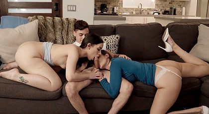 Lucky young man fucks with his girlfriend and stepmother
