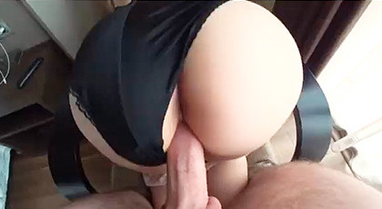 In love with his girl\'s huge round ass