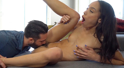 Brunette with hairy pussy and fucking passionately