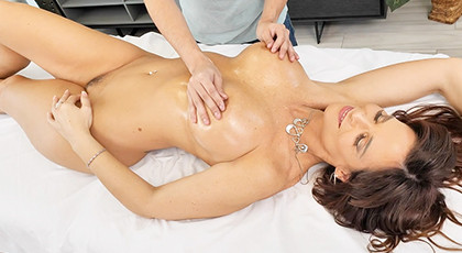 Massage to an excited busty mature