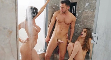 Their stepmom surprises them in the shower and wants a threesome