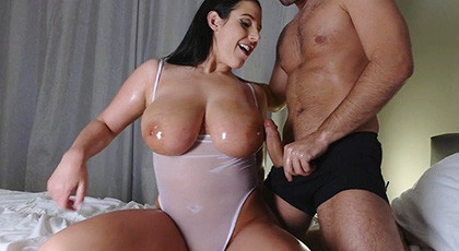 Playing with Angela White\'s huge tits