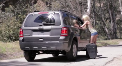 Hot blonde hitchhiking