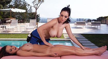 Lesbian massage between neighboring