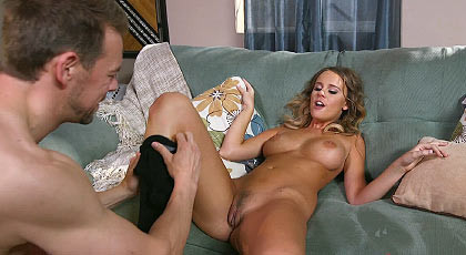 A sweet blond bombshell on my couch