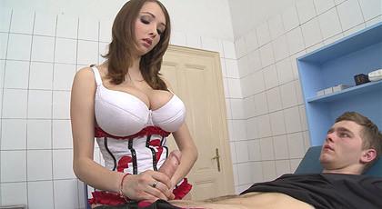 Healing cock between her big tits !!