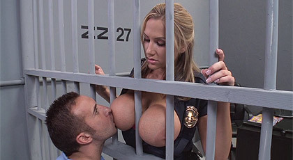 I love to suck her tits, Mrs. police!