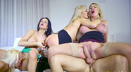 An orgy with my four busty secretaries