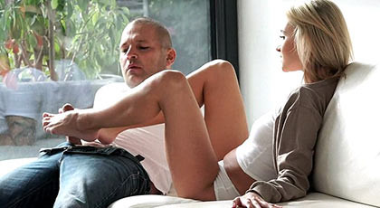 Beautifuland angelic blonde girl jerking feet makes the bastard of his boy cum after fuck her