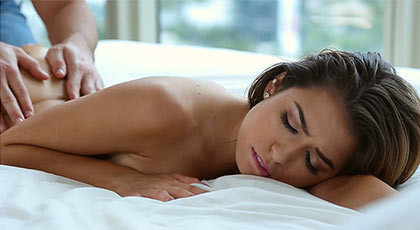 Sexy and elegant girl excited with a massage in her wet pussy