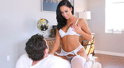 Beautiful milf in lingerie sucking and fucking one cock savagely until his face filled with a spectacular cumshot