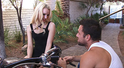 Fucking a blonde body created for sin on a motorcycle just filling her mouth with his big cock and flooding her throat with a spectacular cumshot