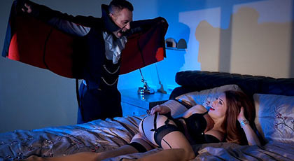 Dracula fucking a natural redhead girl with big boobs, she squirts with cock stuck in her pink pussy just covered by a thick layer of hot cum