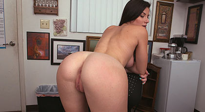 Creampie a buxom brunette with a great ass and pussy shaved pink and full of cum