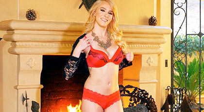 First porn scene: Penelope Lynn is a beautiful blonde with her gorgeous body wearing sexy red lingerie and she masturbates in front of a fireplace