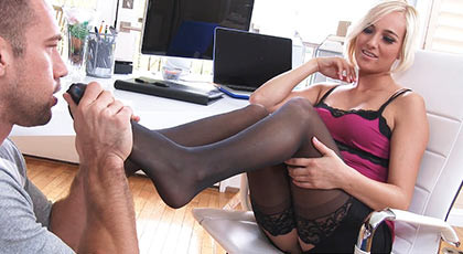 Fucking a sexy blond secretary with sexy lingerie