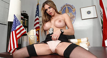 Fucking in the police station with a sexy busty detective with shaved pussy filled his throat with a spectacular cumshot