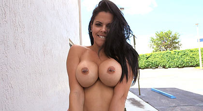 Sensual and mischievous busty brunette fucking hard