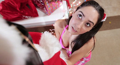 First scene of Rachel Rose, a poor girl who fucks u Santa Claus gives him a large white snow cumshot inside her pussy