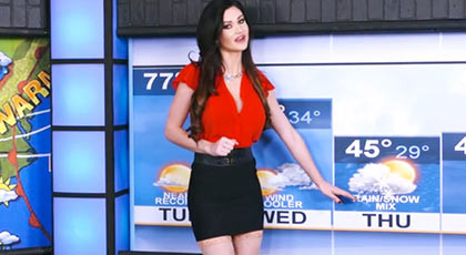 Sexy weather girl very horny and shameless fucking the reporter of News on the set of TV