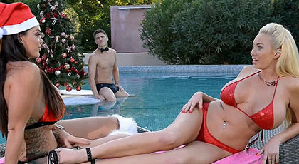 Two very busty and large hot women, fucks in summer christmas time beside of pool