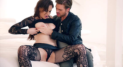 Busty brunette in lingerie fucked on all fours like a bitch by her narrow ass licking the balls to receives a spray of cum in her face
