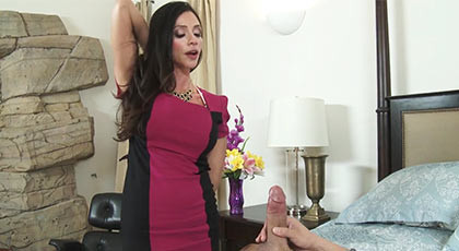 Amazing latina busty milf, fucking with the friend of her son in the marriage bed