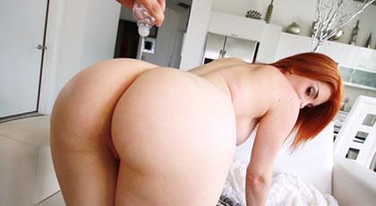 A little bit of body oil for the huge ass of Rainia belle