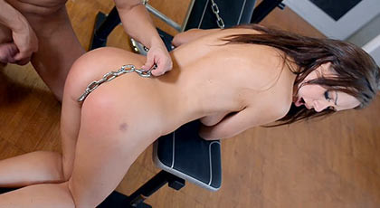 Sodomized and chained punish her but she enjoys with his cock stuck in her dilated ass