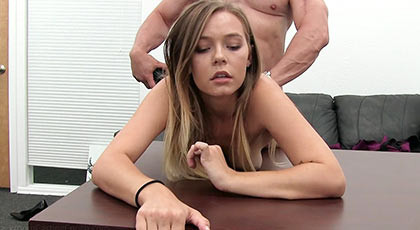First porn scene of Erina, a beautiful blonde with beautiful tits riding a big dick