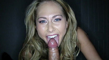 Blue-eyed blonde doing a spectacular blowjob