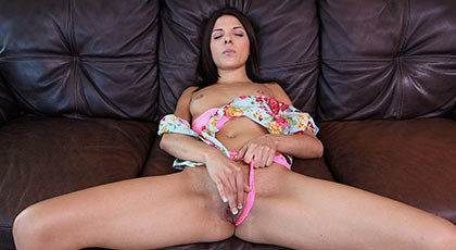 She touches her pussy and masturbating while waiting for an appetizing cock that will fuck her wet pussy