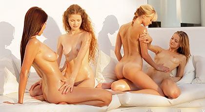 Slippery lesbian orgy in college