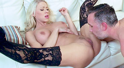 The Amazing busty blonde milf Katie Morgan in a hot por scene with his face covered by a good cumshot of thick cum