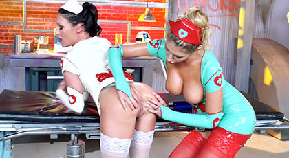 Two busty lesbians nurse, fucking dressed with latex uniforms