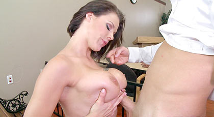Busty brunette make a straw with her tits and receives a great cumshot over her lips  and eyes