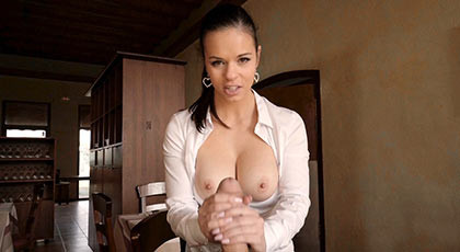 Banging the ass with a big cock to the buxom waitress of the restaurant