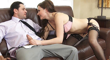 brunette beauty in lingerie ready and excited wants to suck his cock to his new neighbor