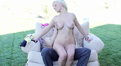 Fucking a busty blonde on the lawn and watering his dirty mouth with sperm