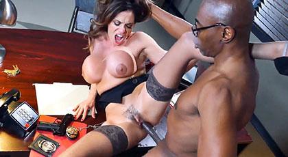 Busty latina secretary loves the hard black cocks