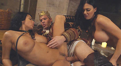Game of Thrones porn with Anissa Kate and Jasmine Jae sexually satisfy the King in a trio of wild sex