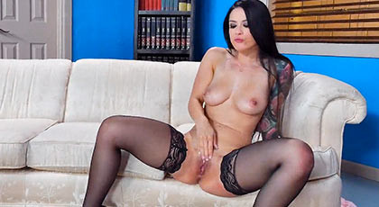 wild sex to the sexy Katrina Jade until he unloads outrageously flooded her pretty pussy in a brutal creampie