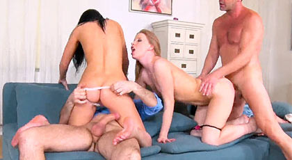 Kiara Knight and Soffia Like fulfill their desire to fuck with their boyfriends and exchange partners to try other cocks in their sweet cunts