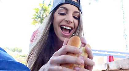 Exciting field day with Kimmy Granger who loves hot dogs with good fat sausages