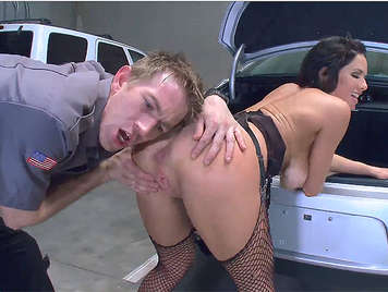 Police with a huge cock, frisked in depth, the asshole of a assed busty mature exhibitionist