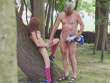 Voyeur spying on a slut redhead girl inviting to a grandpa to suck her pussy and put his cock in her mouth