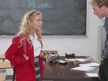 Blonde young girl fucking with her teacher