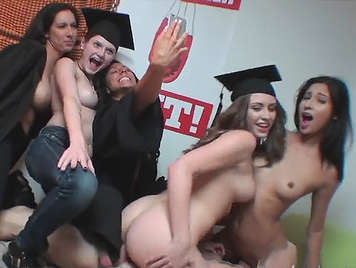 University college girls fucks hard with their janitor